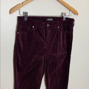 Buffalo David Bitton Velvet Burgundy Skinny Pants